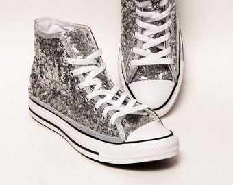 Tiny Sequin - Starlight Silver with Black Stripes Converse Canvas Hi Top Sneaker Tennis Shoes