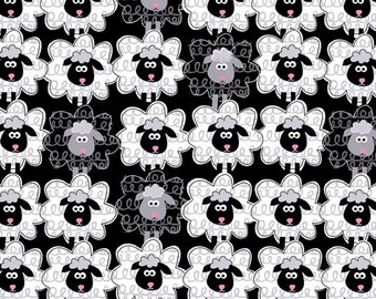 Black Sheep to Sheep # 5172 Cotton Fabric By The Yard By Kanvas Benartex- Cute!