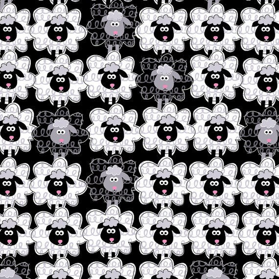 Black Sheep To Sheep # 5172 Cotton Fabric By The Yard By