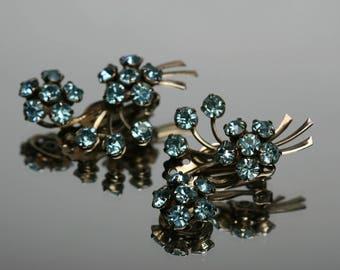 Vintage Blue Rhinestone Floral Design Clip Earrings