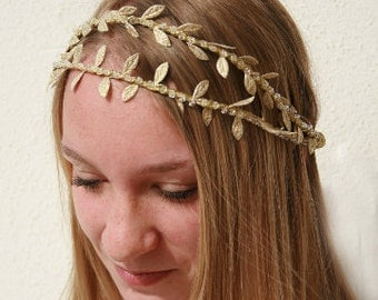 Gold Vine Bridal Headband, Festival Headband, Greek Inspired, Grecian Double Tiara, Laurel Leaf Headband