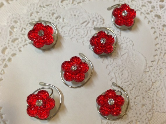 6 Hair Swirls in Dazzling Bright Red Flowers Perfect for Prom or Bridesmaids