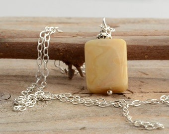 Sterling silver yellow stone necklace, natural stone pendant Pisces Sagittarius necklace unusual wire wrapped calcite jewelry gift for women