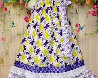 Girls Dress 4T/5 Yellow Gold Purple Design Pillowcase Dress, Pillow Case Dress, Flower Dress, Sundress