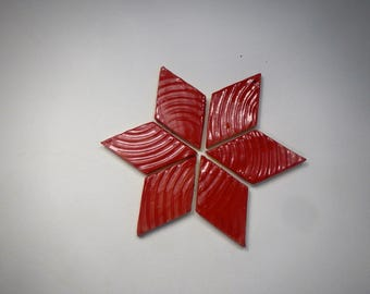 Christmas Red Diamond shaped Mosaic Tiles