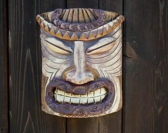 Tiki Stoneware Mask- Hand Sculpted Tiki