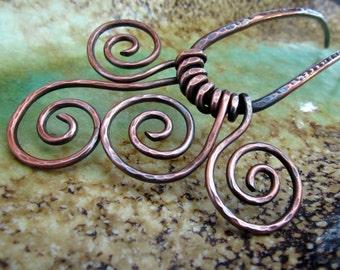 Swirls Hair Fork, antiqued copper hair accessory for long hair