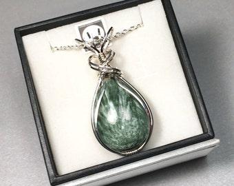 "Russian Seraphinite Argentium  Sterling Silver Wire Wrapped Pendant w/ 18"" Chain"