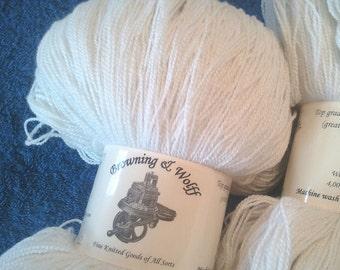 Merino/Silk Lace-weight Sock Yarn - Natural White - 100g Skein