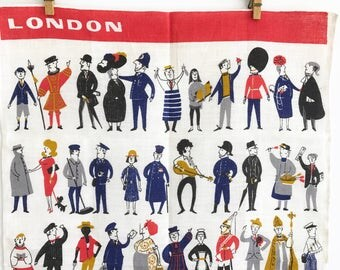 Vintage Tea Towel London People Ulster Linen Elvis Bobby Royal Guard Pets Animals
