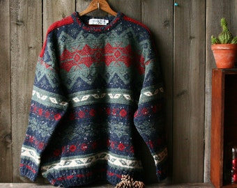 Mens Wool Sweater Crewneck Pullover Made in Scotland Antiartex Vintage From Nowvintage on Etsy