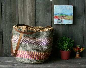 Vintage Woven Straw Jute Bag With Leather Straps Bohemian Market Bag Purple Green Red From Nowvintage on Etsy