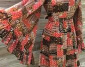 1970's angel sleeve midi prairie dress MEDIUM