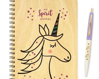 Magical Unicorn Gift Set - Wood Notebook & Pen Set - B1065