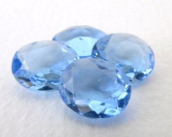 Vintage Rhinestone Light Sapphire Blue Glass Jewel  Oval Transparent Unfoiled Czech 12x10mm rhs0624 (4)