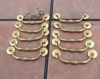 Set of 10 Antique  Brass Drawer Pulls  with 4 1/2 Inch Centers By Keeler Brass