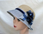 Cloche Hat With Bow / Navy And Tan Vintage Inspired Downton Abbey Cloche Hat / Deco Inspired Navy And Tan Nautical Cloche Hat