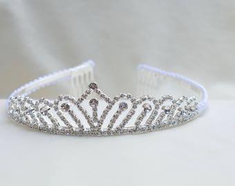 Girls Silver  Rhinestone Tiara / Flower Girl Tiara / Silver Princess Tiara / Girls Tiara / Cinderella Tiara / Girls  Birthday Tiara