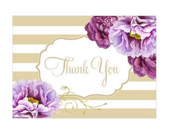 Digital Printable Thank You Note Bridal Shower with Purple Flowers on Gold TYB002