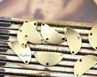 Raw Brass Dapped Crescent 3-Hole Chandelier Connector Stampings Jewelry Findings - 8