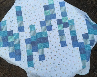 Vintage Sheet and Modern Blue Scrap Quilt