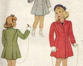 Vintage 40s McCalls 6568 Toddler Girls Princess Seam Winter Coat with Shoulder Bretelles Sewing Pattern Size 4