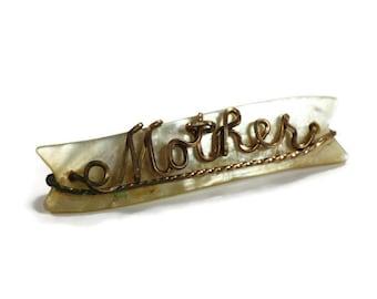 MOP Shell  Mother Name Brooch Vintage