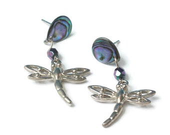 Dragonfly Abalone Figural Dangle Earrings Silver Tone Posts Vintage