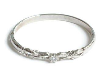 Crystal Scrolled Design Bangle Bracelet Smaller Wrist Hinged Vintage