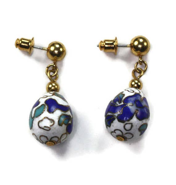 Cloisonne Porcelain Dangle Earrings Egg Shaped Blue and White with Posts Vintage