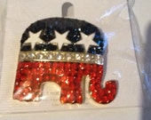 Republican Elephant with Bling  Brooch or necklace on 18 inch ball chain
