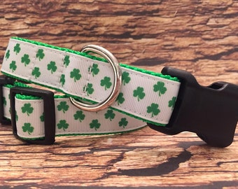 Shamrock Dog Collar, In M, L, XL  For St. Patrick's Day
