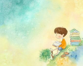Boy With Auburn Hair Reading a Book -  Art Print for Children