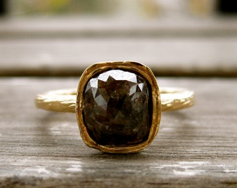 Brown Chocolate Diamond Ring in Solid 14K Yellow Gold with Organic Wave Texture Size 7