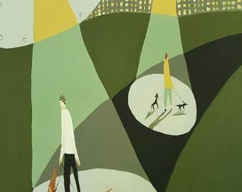 "Original painting, 11x14, ""Walk in the Park"", dogs,folk art, primitive"