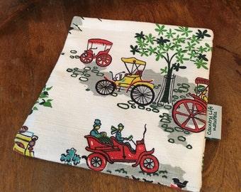 Vintage Bark Cloth Sandwich Bag-Reusable