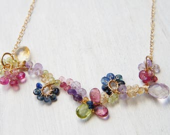 Gemstones Floral Necklace, Wire Wrapped Jewelry, Vine Branch Necklace, Sapphire Pink Tourmaline Jewelry