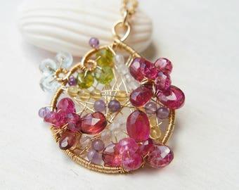 Pink Tourmaline Drop Necklace, Pink Gemstones Flower Pendant, Filigree Teardrop, Bridal Jewelry