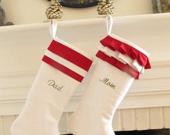 Personalized Christmas Stockings Linen Pair White Red Monogram Wedding Gift