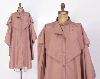 Vintage 80s Draped RAINCOAT / 1980s Dusty Mauve Pink Avant Garde Rain Coat Jacket