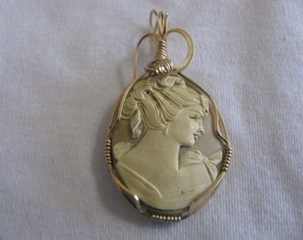 Handcrafted Wire Wrapped Resin Cameo Pendant