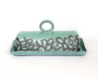 Butter Dish with a Handle , Turquoise Modern Floral