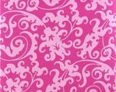 Pink Damask Scroll Fabric 1 Yard. 100% cotton