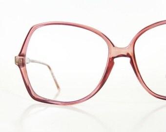 ON SALE Vintage 1970s Oversized Plum Dark Purple Clear Glasses Eyeglasses Womens Avant Garde New Wave 70s Seventies Sunnies Deadstock NOS Hi