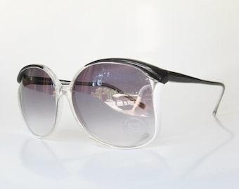 ON SALE 1970s Sunglasses Oversized Vintage Retro Sunnies Womens Ladies Girls Festival Coachella Indie Hipster Black White Avant Garde Glasse