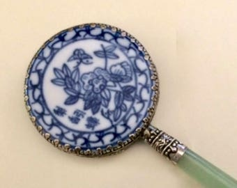 Vintage Asian Ceramic Hand Mirror with Jade Handle, Small Chinese Blue White Porcelain Mirror