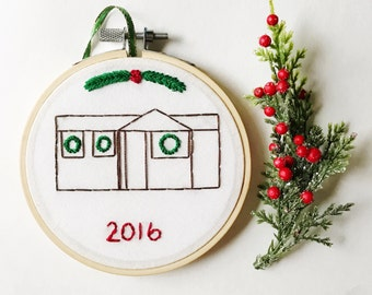 First Home Ornament 2017. New Home Embroidery Ornament. First Christmas Ornament. Custom Home Ornament. Handmade Christmas Ornament KimArt