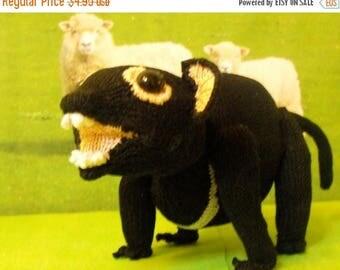 50% OFF SALE Instant Digital File pdf download knitting pattern madmonkeyknits Taz the Tasmanian Devil toy animal pdf knitting pattern