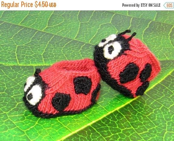 HALF PRICE SALE Digital pdf file knitting pattern - Baby Ladybird (Ladybug) Booties  knitting pattern pdf download by madmonkeyknits