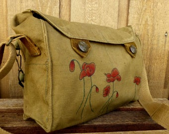 Red Poppies on a Vintage Czech Canvas Army Messenger Bag / Purse. Hand Painted.